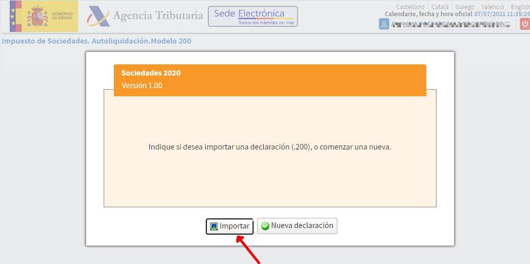 Modelo 200 - Ejercicio 2020 - Importar un fichero de declaración en navegador web