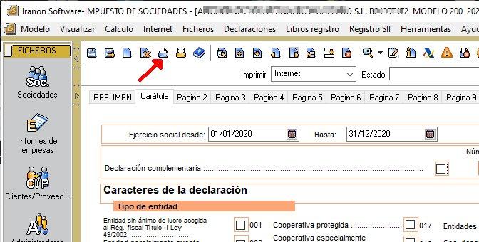 Modelo 200 - Ejercicio 2020 - Presentación por navegador web